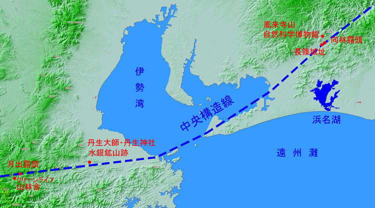 今回の旅の見学地と中央構造線 ... : 日本列島の地図 : 日本
